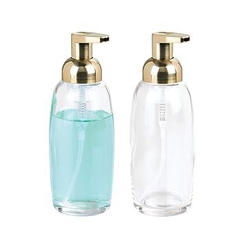 mDesign Juego de 2 dispensadores de jabón en espuma - Dispensadores de cristal y plástico recargables - Dosificadores de jabón para cocina y baño ...