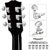 lotmusic Acoustic Guitar Tuning Pegs, Tuners Machine, 18:1 3L3R, Tuner Keys Heads, Closed Chrome for Luthier DIY Repair