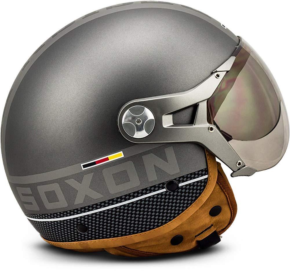 Cloth Bag /· Grey /· XL SOXON SP-325-PLUS Titanium Ace /· Scooter-Helmet Vespa-Helmet Bobber Vintage Cruiser Pilot Moto-Helmet Retro Chopper Biker Mofa Jet-Helmet /· ECE certified /· incl 61-62cm Sun Visor /· incl