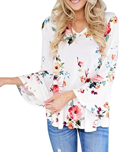 Women Floral V Neck Long Sleeve T Shirt Ladies Casual Loose Blouse Tunic Tops UK