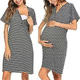 Pagacat Maternity Round Neck Short Sleeve Button Front Nursing Breastfeeding Sleepshirts(Black,Medium)