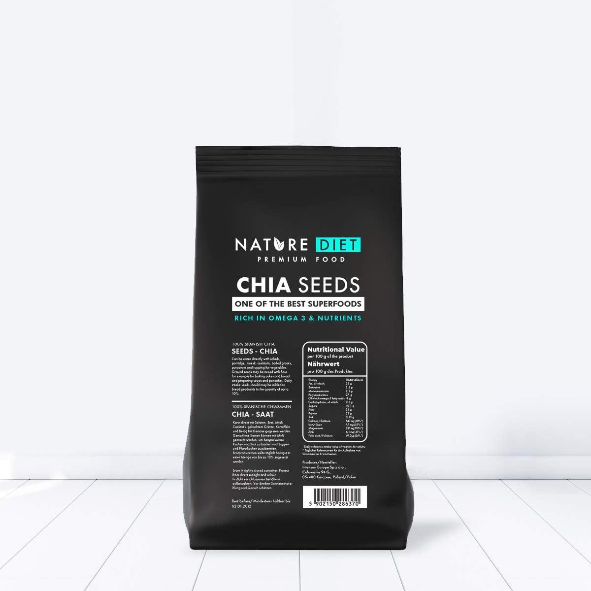 Nature Diet - Semillas de chía, 2 paquetes de 1 kg: Amazon.es: Alimentación y bebidas