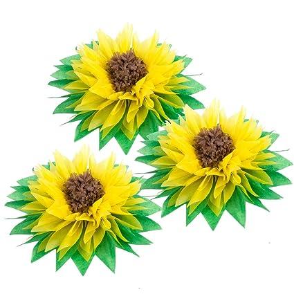 Amazon Com 3pcs 12 Yellow Tissue Paper Sunflowers Paper Pom Poms