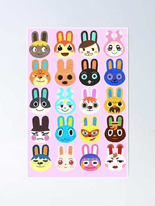 Amazon Com Chaboukie Animal Crossing Bunny Villagers Poster Is An
