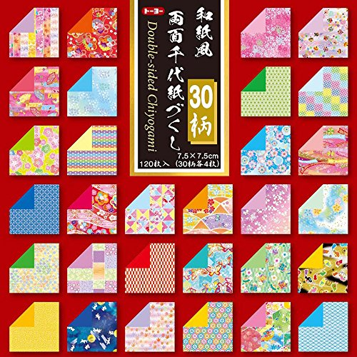 Toyo Reversible Origami Washifu Chiyogami, Ryoumen Chiyogami Zukushi 7.5 cm x 7.5cm (018061)
