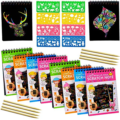 (8-Pack Rainbow Scratch Art Notes with 8 Colorful Mini Notebooks, 8 Wooden Styluses, 8 Drawing Stencils, Rainbows Scratchboard Arts & Crafts Kits, Cute Unique Gift Idea for)