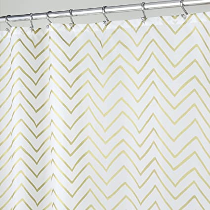 MDesign Decorative Metallic Chevron Print Stall Sized Water Repellent Fabric Shower Curtain For Bathroom