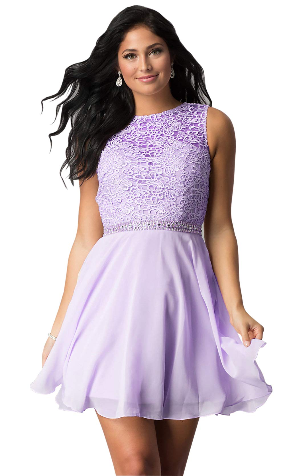new york uk store cheaper Women's Open Back Beaded Lace Bridesmaid Dresses Short Wedding Party Gown  Lilac Size 4