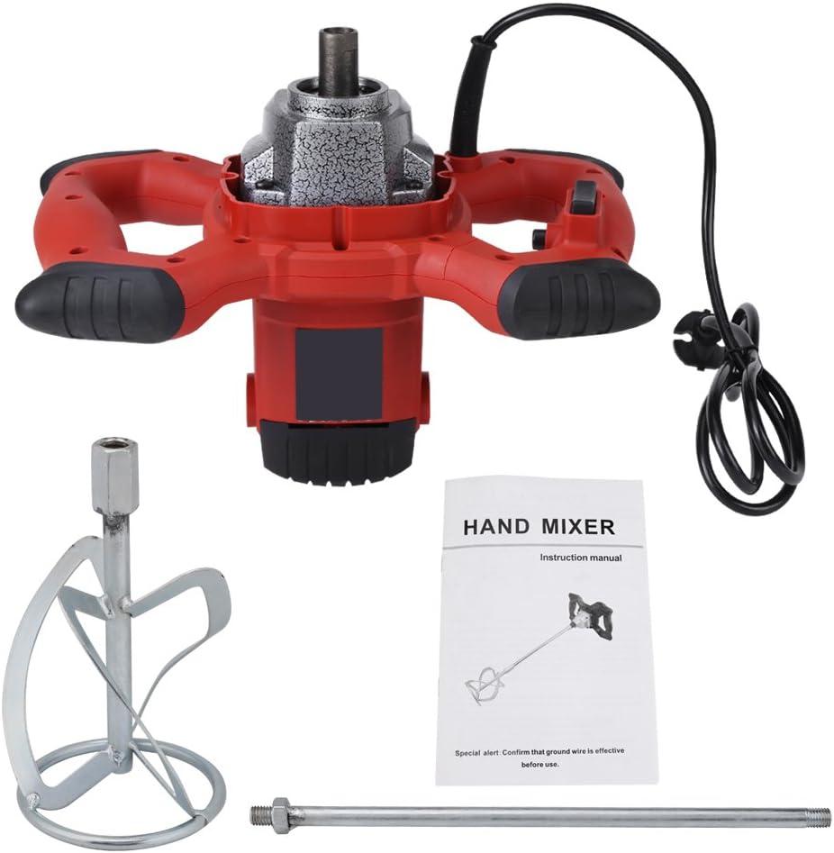 Mezclador de mortero de hormig/ón Mezclador el/éctrico port/átil de 6 velocidades para agitar lechada de Cemento de Pintura de mortero de 220V CA Cocoarm Mezclador de mortero el/éctrico de 1500W