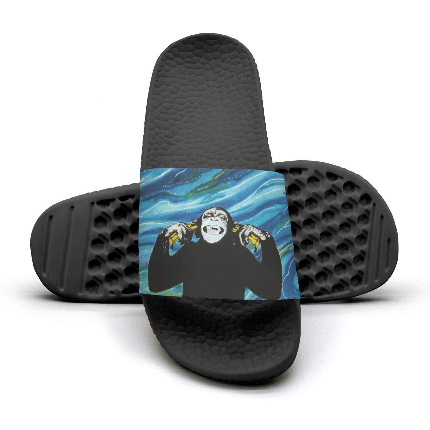 black monkey holds banana with smile Slippers Sandals Slippers for Men by AKDJDS