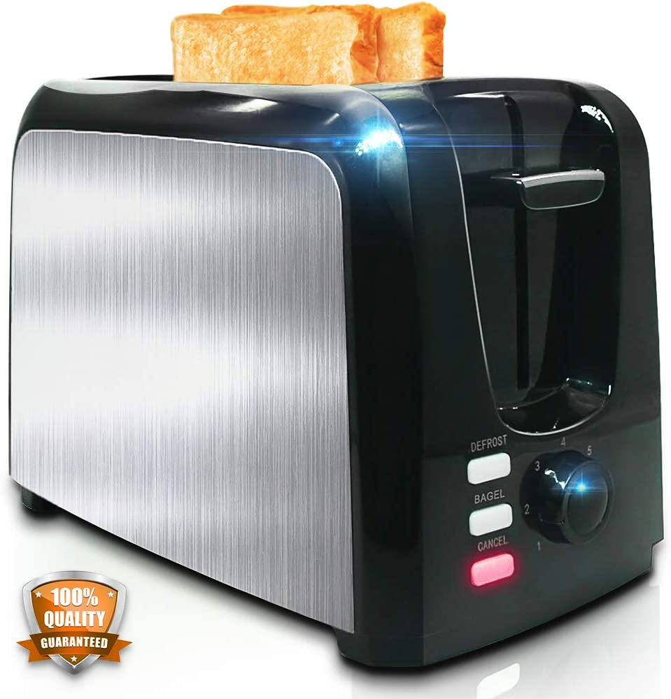 Toaster 2 Slice - Toasters Toast Evenly And Quickly - Toaster With Bagel Defrost Cancel Function - Stainless Steel Cool Touch Black Compact Bread Toasters 2 Slice Best Rated Prime With Two Extra Wide Slots and Removable Crumb Tray