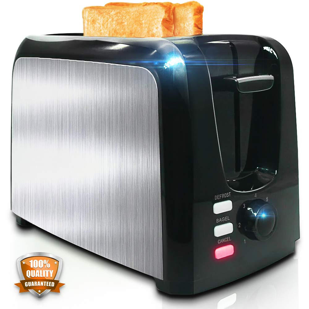 Toaster 2 Slice - Toasters Toast Evenly And Quickly - Toaster With Bagel Defrost Cancel Function - Stainless Steel Cool Touch Black Compact Bread Toasters 2 Slice Best Rated Prime With Two Extra Wide Slots, Removable Crumb Tray by YLLUFFA