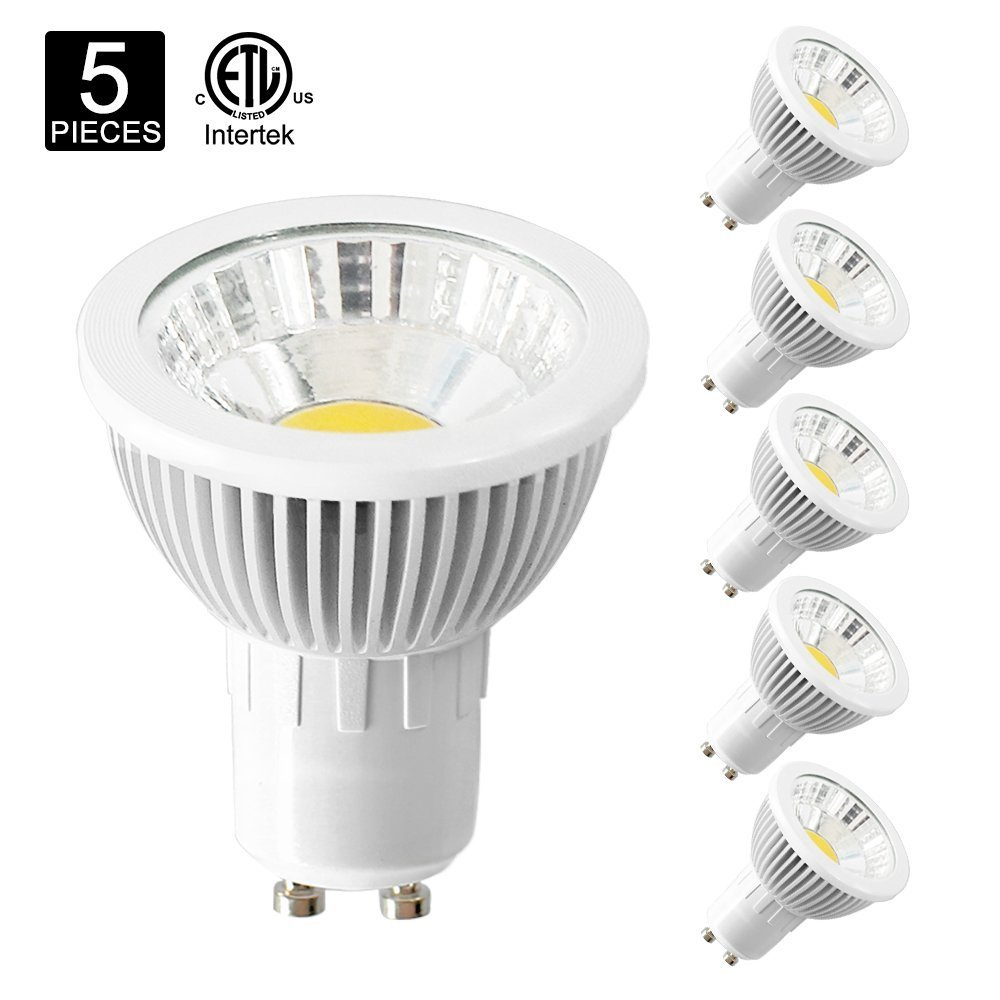 Poroju GU10 LED Halogen Replacement Bulb, Dimmable LED MR16 Spot Light Bulb, CRI 85+, 120 Volt, 38 Degree Beam Angle, 5W, 50W Equivalent, Natural White 4000K, ETL-listed and FCC Qualified, Pack of 5