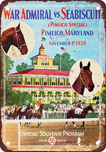 Sign Look Metal - 1938 Seabiscuit at Pimlico Horse Race Vintage Look Reproduction Metal Tin Sign 12X18 Inches