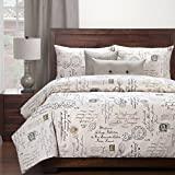 6 Piece Pastel French Postscript Patterned Duvet Cover Set Full Size, Printed Fashionable Luxury European Stamps Bedding, Vintage Bright Elegant Typography Design, Stylish Eco Friendly Style, Beige