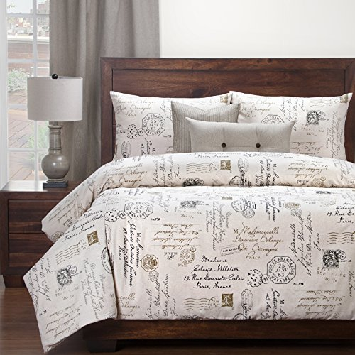 5 Piece Boys French Postal Linen Pattern Duvet Cover Set Twin Set, High-End Luxury Motivational Quotes & Sayings Themed Bedding, Typography Design, Vintage Style, Cotton, Off-White Brown Black by SE