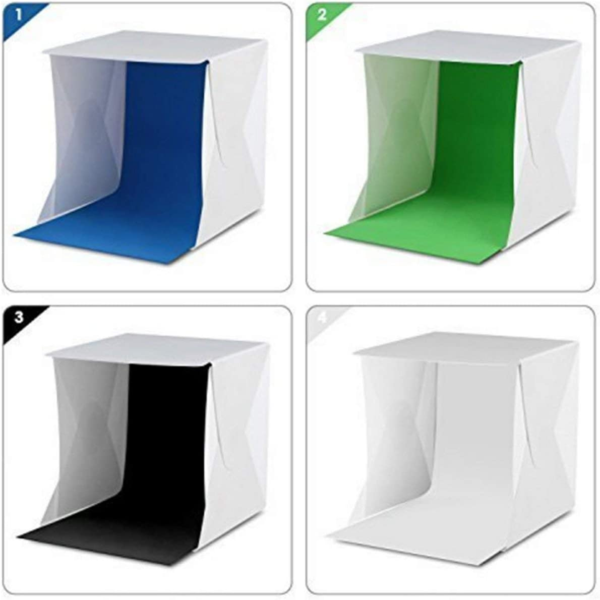 8.5X8.5X8.5 Inches 4 Colors Backdrops Liobaba Light Tent Portable Light Box Photography Kit with LED Light