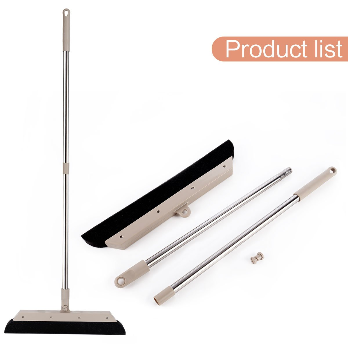MEIBEI Sponge Broom Dust Cleaner, 37.4'' Adjustable Long Handle with 13.8'' Wide Blade, Perfect for Wood Tile Marble Carpet & Glass by MEIBEI (Image #9)