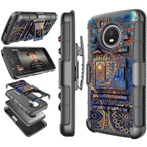 Moto E4 Plus Case, 2017 Motorola Moto E Plus 4th Generation Holster Clip, Tekcoo [Hoplite] Shock Absorbing [Camo Relic] Swivel Locking Belt Heavy Full Body Kickstand Carrying Camouflage Cases Cover