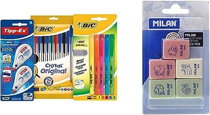 BIC 942147 - Estuche con 10 bolígrafos de colores, 5 marcadores y ...