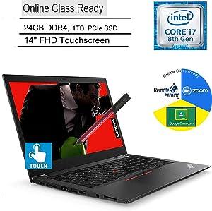"Lenovo ThinkPad T480s Business Laptop Computer_ Intel Quad-Core i7-8650U_ 24GB DDR4_ 1TB PCIe SSD_ 14"" FHD Touchscreen_ Online Class Ready_ Windows 10 Pro_ BROAGE 3-in-1 Stylus 64GB Flash Drive"