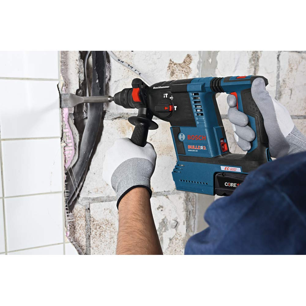 Bosch GBH18V-26K24-RT 6.3 Ah Cordless Lithium-Ion Brushless 1 in. SDS-Plus Bulldog Rotary Hammer Kit (Renewed) by Bosch (Image #7)