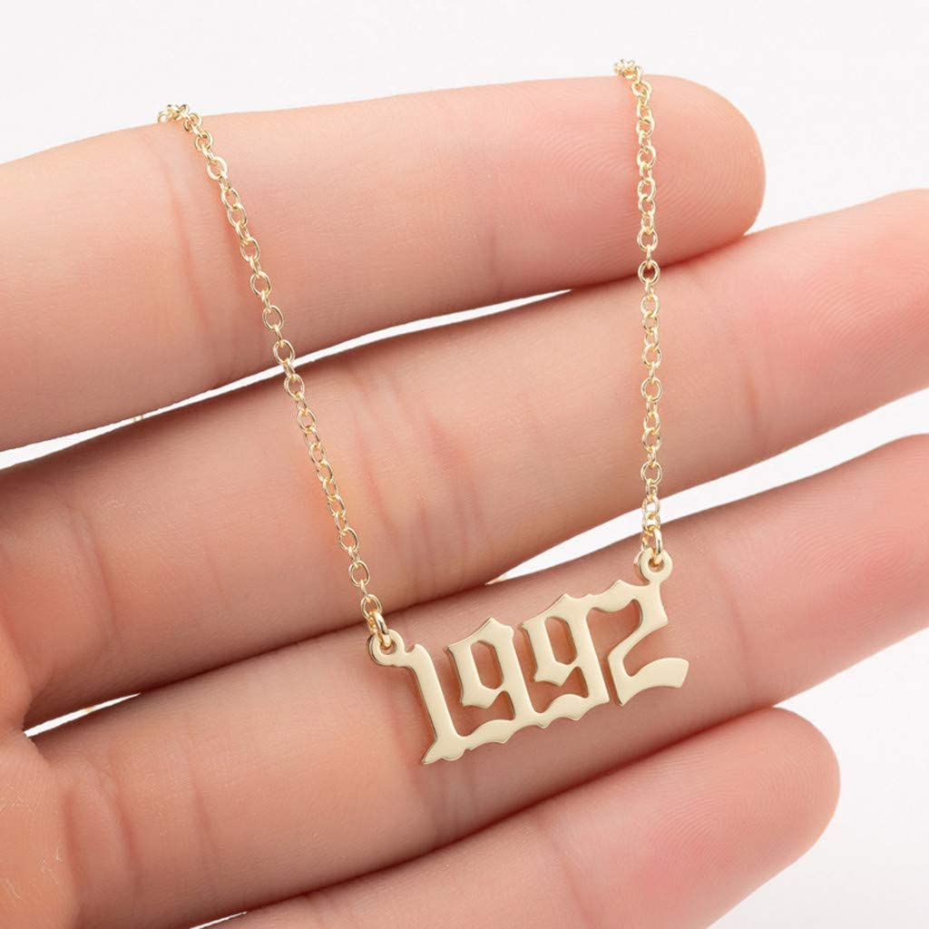 A Newdiva Vintage Stainless Steel Number Necklace Clavicle Chain Birthday Gift for Women Teen Girls Men Personalized Fashion Jewelry Years Number Necklace 1990-1999 Pendant