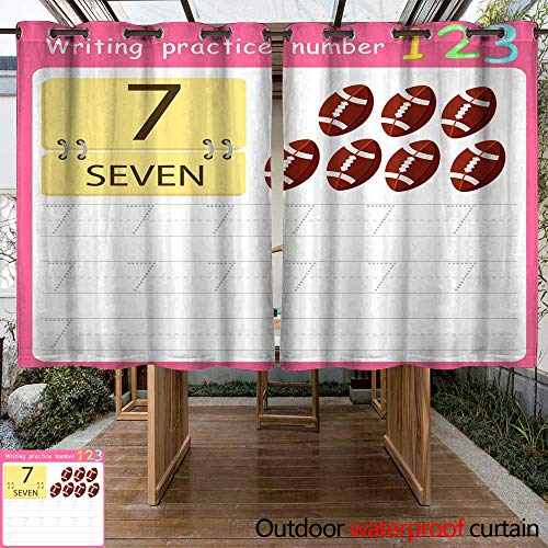 (RenteriaDecor Home Patio Outdoor Curtain Worksheet Writing Practice Number Seven W63 x L72)