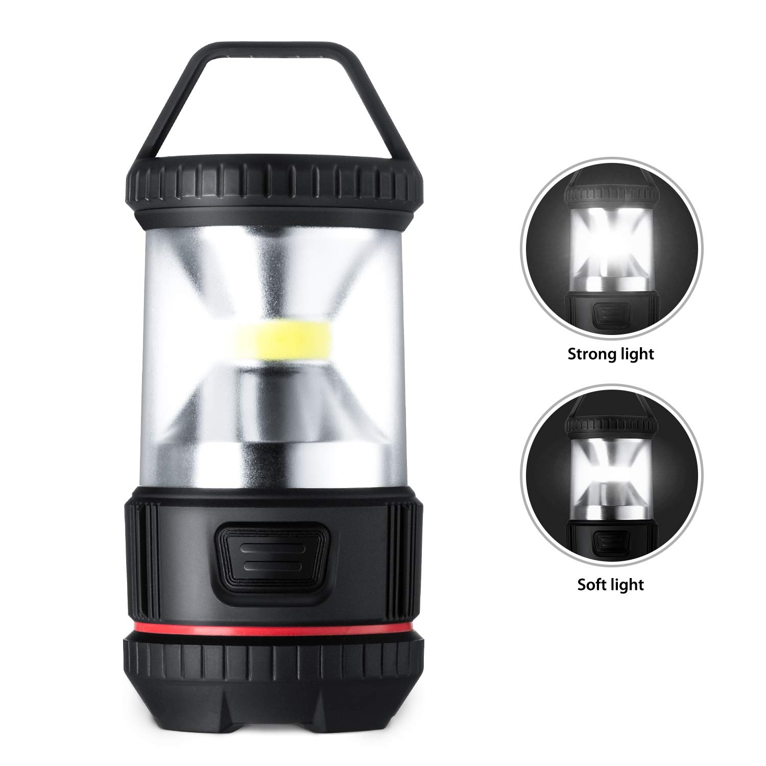LED Camping Lantern, OutingPro 4 Pack COB Mini Flashlight Battery Operated Brightness Adjustable Lamp Waterproof Portable Hanging Light for Emergencies, Outdoor, Hurricanes, Outages, Storms