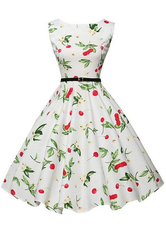 OZAVO Elegant Damen Aermellose 1950er Retro Vintage Floral Party Cocktailkleider Abendkleider Sommerkleid Knielang