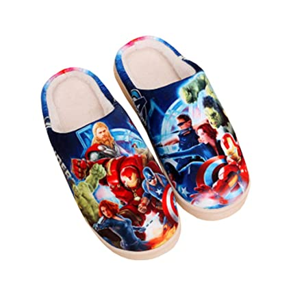 Winter Plush Cotton Slippers Avengers Alliance Unisex Shoes Indoor Thick Bottom Anti-Slip Home Couple