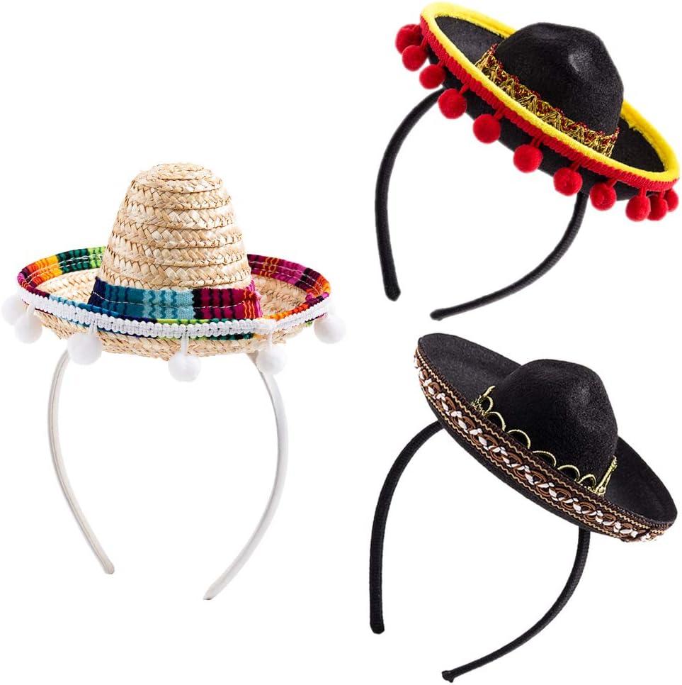 3Pcs Cinco De Mayo Sombrero Headband, Fiesta Sombrero Party Hats with Ball Fringe Decoration for Carnivals Festivals, Dia De Muertos, Coco Theme, Wedding, Birthdays and Party supplies