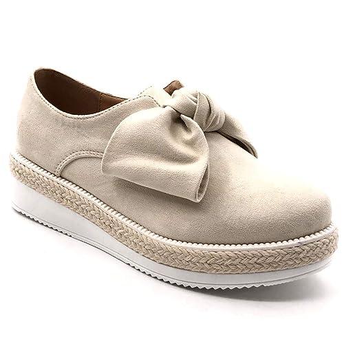 4f29f816d39e Angkorly - Chaussure Mode Mocassin Derbies Plateforme Slip-on Femme Noeud  Corde tressé Talon compensé