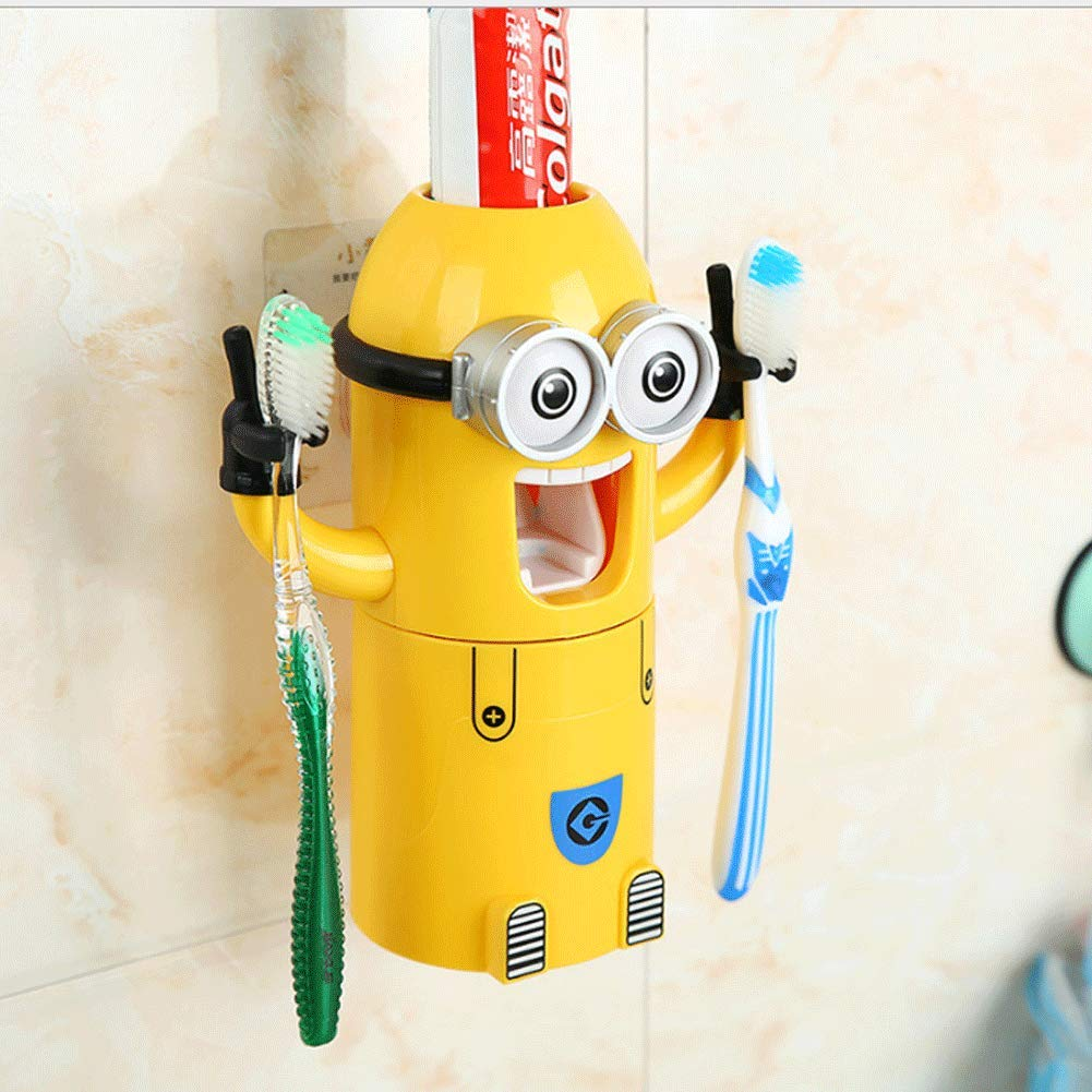 Meng Ran Toothbrush Holder Automatic Toothpaste Dispenser Toothpaste Holder,Cartoon Yellow Toothbrush Holder Automatic Toothpaste,Kids Toothbrush Holder by Meng Ran