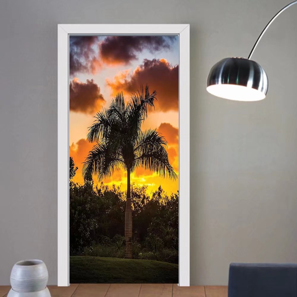 Gzhihine custom made 3d door stickers Palm Tree Decor Palm Tree Silhouette Exotic Plant on Dark Thema Foliages Relax in Nature Image Black For Room Decor 30x79