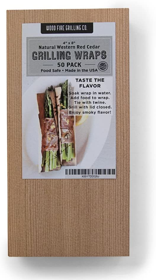 """Wood Fire Grilling Co. Cedar Grilling Wraps - 50 Pack (4""""x8"""")"""