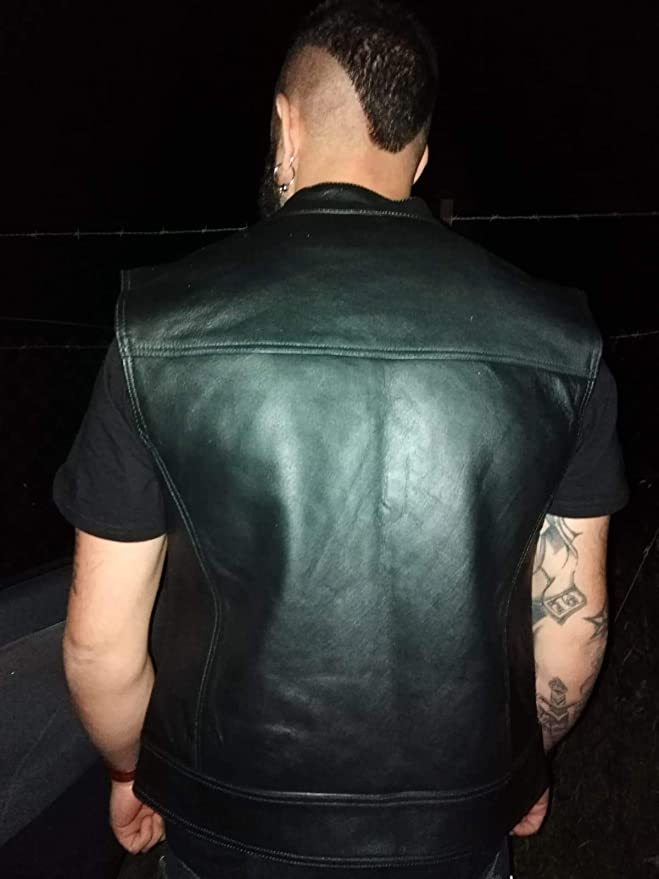 Black Tab Men S Motorcycle Leather Vest Black Soa Sons Of Anarchy Style Usa Buffalo Leather Black Auto