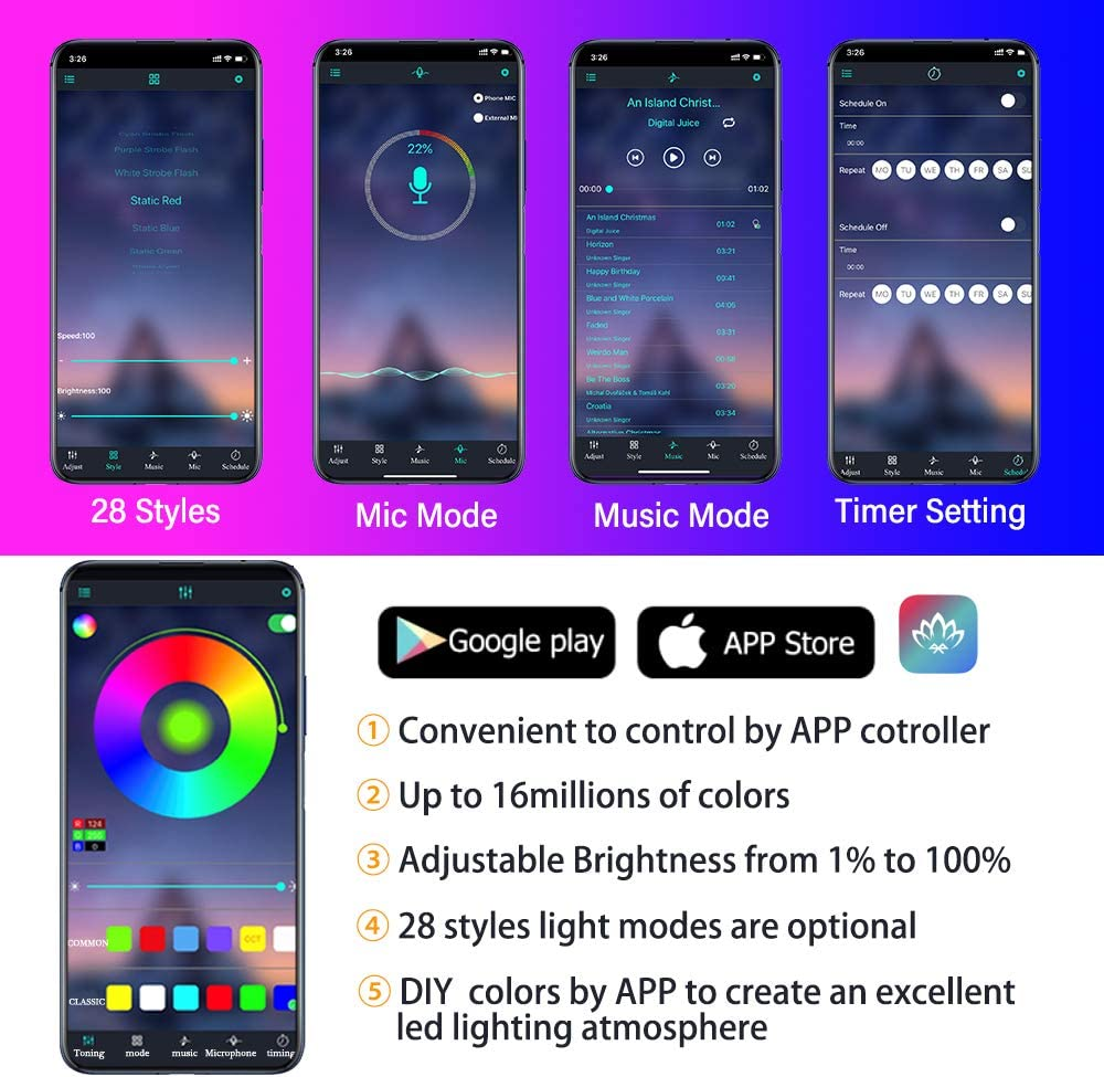 Car LED Interior Strip Lights Wireless Bluetooth APP Control 16 Million Colors 9 in 1 with 236 inches Fiber Optic Multicolor RGB Sound Active Automobile Atmosphere Ambient Lighting Kit