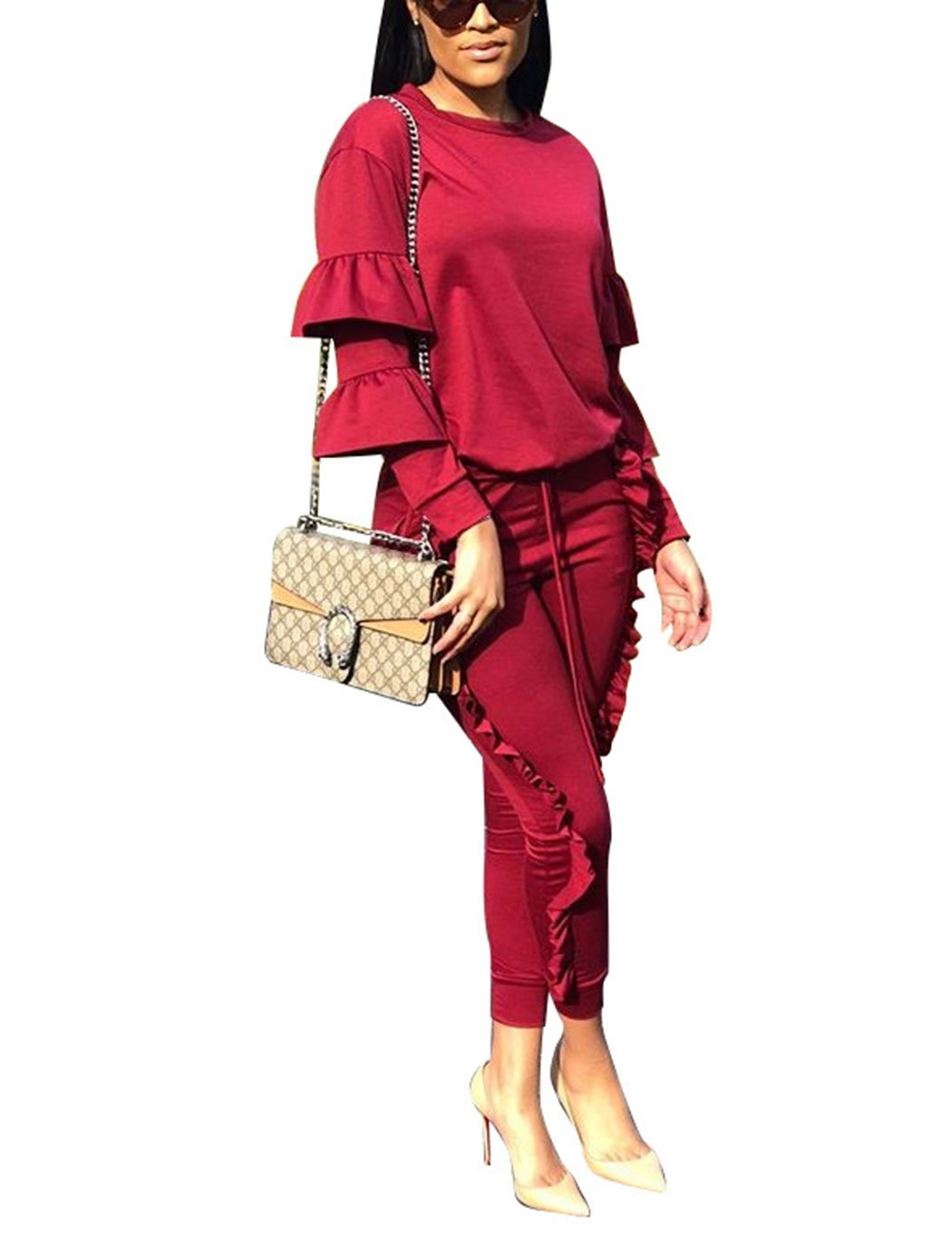 Subtle Flavor Women 2 Pieces Outfits Puff Sleeve Top and Long Ruffle Trousers Sweatsuits Set Tracksuits Wine Red Small