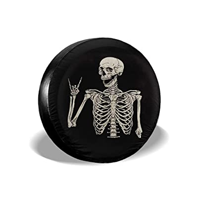 Ouqiuwa Spare Tire Cover Rock and Roll Skeleton Skull Boho Hippie Universal Wheel Covers for Jeep Trailer RV SUV 17 Inch for Diameter 31-33 Inch: Automotive