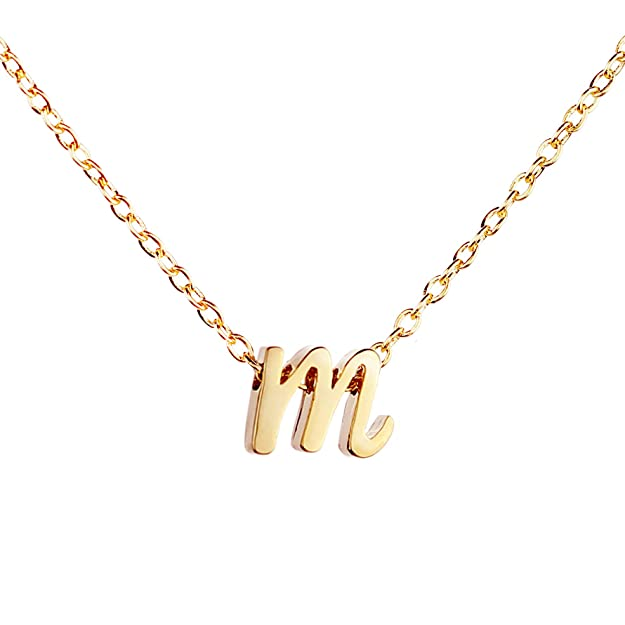 MignonandMignon Gold Initial Necklace Initial Pendant Necklace Graduation Gift Personalized Necklace (M) - RCIN