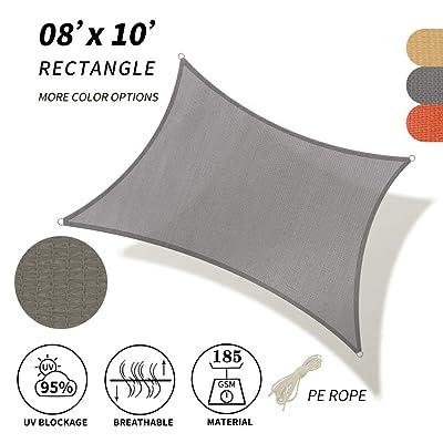SHADE SPRING Rectangle Grey Sun Shade Sail 8'x10' UV Block Canopy 185GSM Awning for Patio Garden Yard : Garden & Outdoor