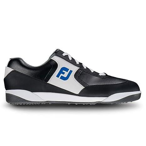FootJoy Greenjoys Spikeless Retro Court Black/White/Royal Men's Golf Shoes