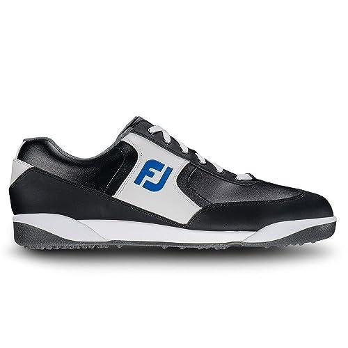 FootJoy GreenJoys Contour Last Spikeless Golf Shoes CLOSEOUT Black/White/Royal  Medium 7.5
