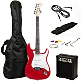RockJam Full Size Electric Guitar Superkit with Amp, Strings, Strap, Case and Cable - Red