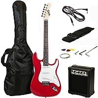 RockJam RJEG02-SK-RD ST Style Electric Guitar Super Pack with Amp, Gig Bag, Strings, Strap, Picks, Red