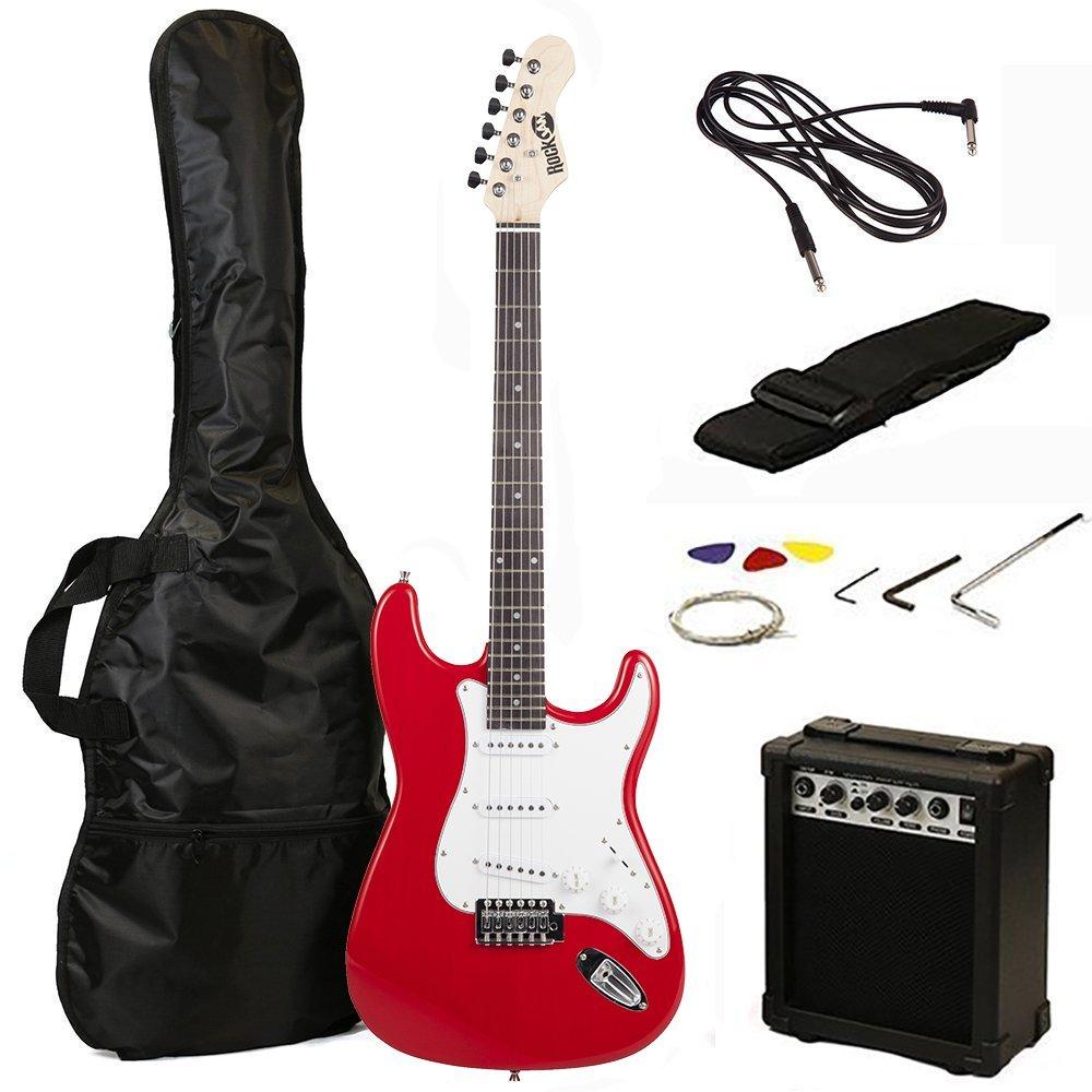 RockJam 6 ST Style Electric Guitar Super Pack with Amp, Gig Bag, Strings, Strap, Picks, Red (RJEG02-SK-RD) by RockJam