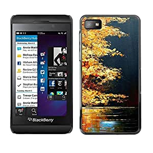 Paccase / SLIM PC / Aliminium Casa Carcasa Funda Case Cover - Fall Lake Nature Golden Brown - Blackberry Z10