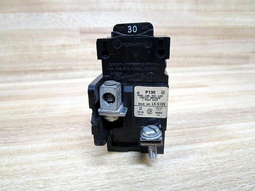1- P130 Siemens Pushmatic Bulldog ITE- P Frame, 1 Pole, 120 Volt, 30 Amp, Molded Case Circuit Breaker 30A 1P