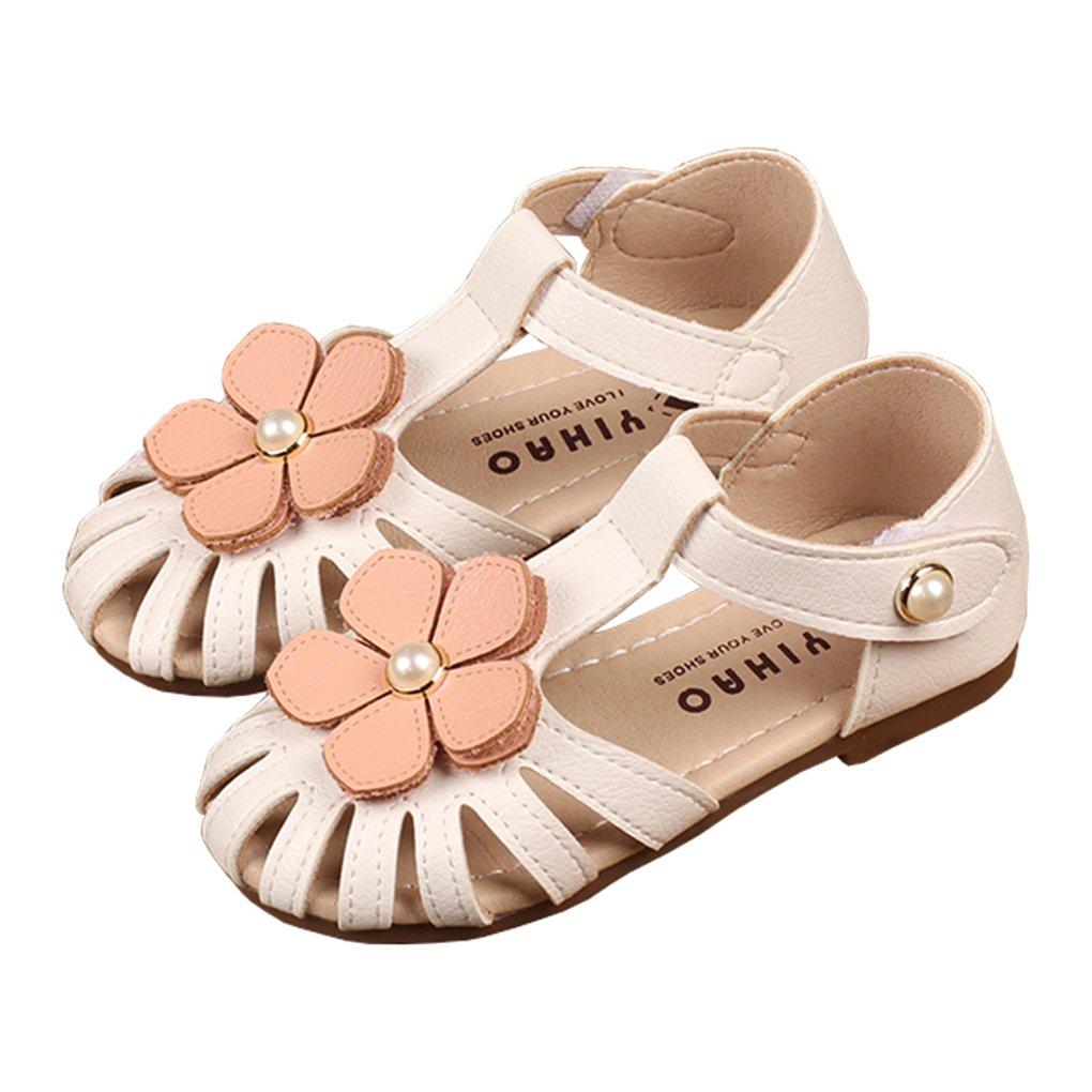 lakiolins Toddler Girls Flowers T-Strap Hollow Closed Toe Flat Sandals Princess Dress Shoe White Size 22 by lakiolins (Image #1)
